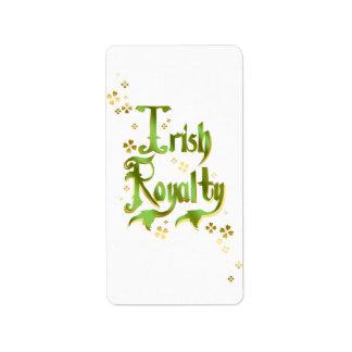 Irish Royalty Address Label