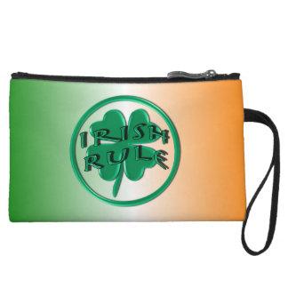 Irish Rule - Ireland Colors and Shamrock Wristlet Purses