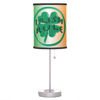 Irish Rule - Ireland Colors and Shamrock Desk Lamp