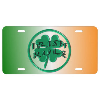 Irish Rule - Ireland Colors and Shamrock License Plate