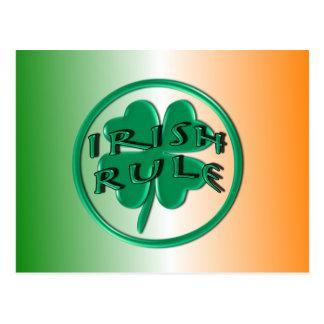 Irish Rule - Ireland Colors and Shamrock Postcard