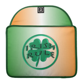 Irish Rule - Ireland Colors and Shamrock Sleeve For MacBooks