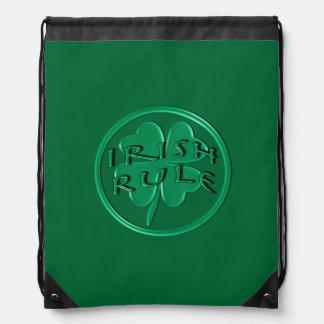 Irish Rule - With Shamrock on Green Background Drawstring Bags