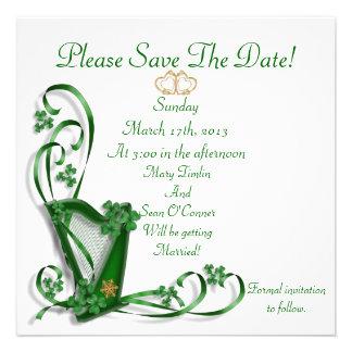 Irish Save the date for Wedding Harp Personalized Invite