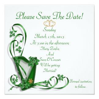 Irish Save the date for Wedding, Harp 5.25x5.25 Square Paper Invitation Card