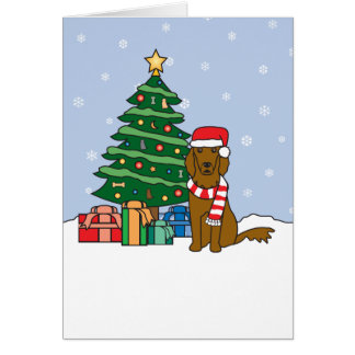Irish Setter and Christmas Tree Greeting Cards