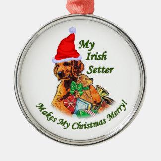 Irish Setter Christmas Metal Ornament