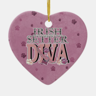 Irish Setter DIVA Double-Sided Heart Ceramic Christmas Ornament