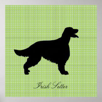 Irish Setter dog black silhouette poster, print