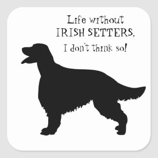 Irish Setter dog black silhouette sticker, gift Square Sticker