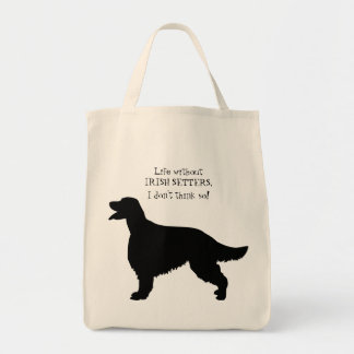 Irish Setter dog black silhouette tote bag, gift