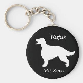 Irish Setter dog custom name silhouette keychain