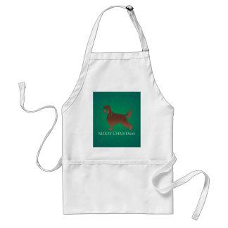 Irish Setter Dog Merry Christmas Design Adult Apron