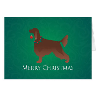 Irish Setter Dog Merry Christmas Design Card