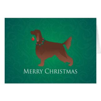 Irish Setter Dog Merry Christmas Design Greeting Cards