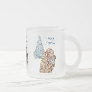 Irish Setter Frosted Glass Coffee Mug