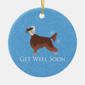Irish Setter Get Well Soon Silhouette Dog in Cone Ceramic Ornament