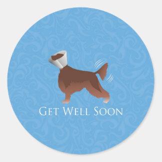 Irish Setter Get Well Soon Silhouette Dog in Cone Classic Round Sticker