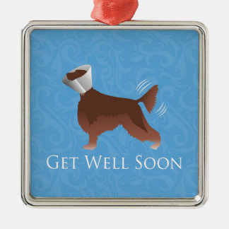 Irish Setter Get Well Soon Silhouette Dog in Cone Metal Ornament