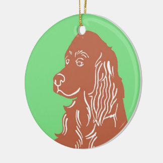 Irish Setter Green and Brown Circle Ornament