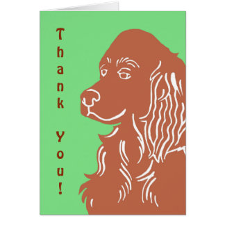 Irish Setter Green and Brown Thank You Card