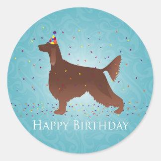 Irish Setter Happy Birthday Design Classic Round Sticker