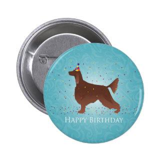 Irish Setter Happy Birthday Design Pinback Button