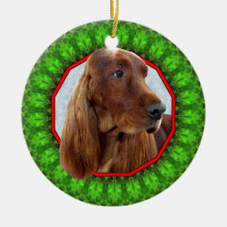 Irish Setter Happy Howliday Double-Sided Ceramic Round Christmas Ornament