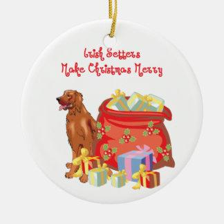 Irish Setter Merry Christmas Christmas Tree Ornament