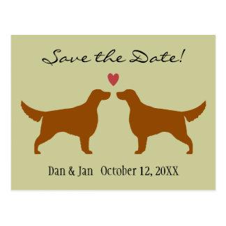 Irish Setter Silhouettes Wedding Save the Date Postcard