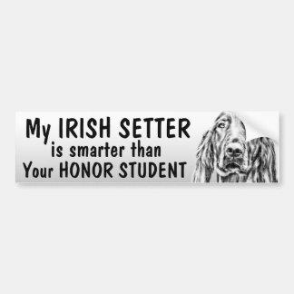 Irish Setter - Smarter than honor student - funny Car Bumper Sticker