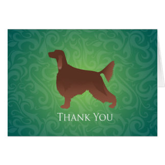 Irish Setter Thank You Silhouette on green Card