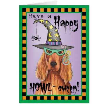 Halloween Themed Irish Setter Witch Card