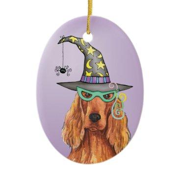 Halloween Themed Irish Setter Witch Ceramic Ornament