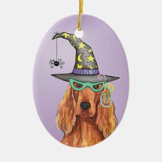 Irish Setter Witch Christmas Ornament