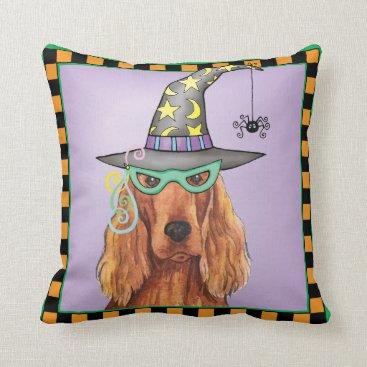 Halloween Themed Irish Setter Witch Throw Pillow