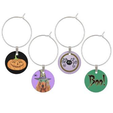 Halloween Themed Irish Setter Witch Wine Glass Charm