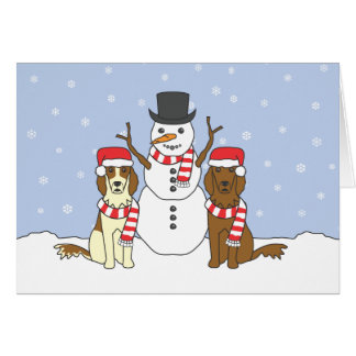 Irish Setters and Snowman Greeting Cards
