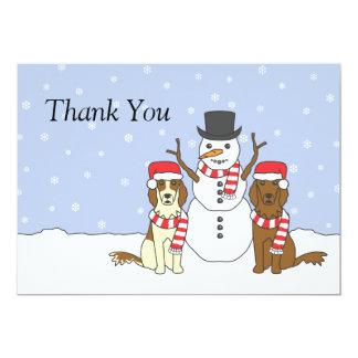 """Irish Setters and Snowman 5"""" X 7"""" Invitation Card"""