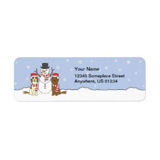 Irish Setters and Snowman Label