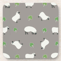 Irish Shamrock and Sheep Pattern Beverage Coaster
