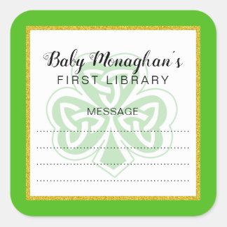 Irish shamrock baby shower bookplate + gold