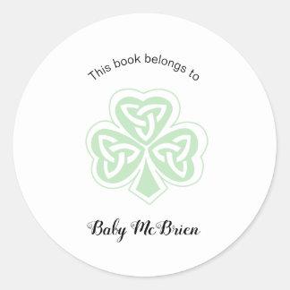 Irish Shamrock baby's first library bookplate