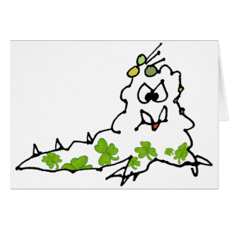 Irish Shamrock Cartoon Slug Monster Card