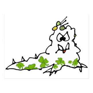 Irish Shamrock Cartoon Slug Monster Postcard