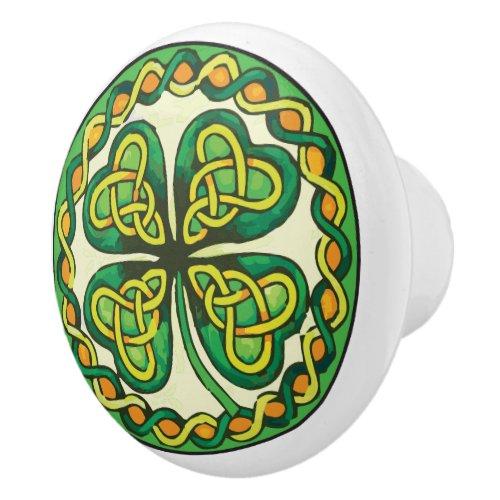 Irish Shamrock Ceramic Knob