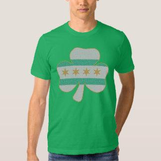 Irish Shamrock Chicago Flag Kelly Green T Shirt
