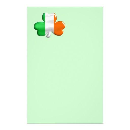 Irish Shamrock Clover Flag Personalized Stationery