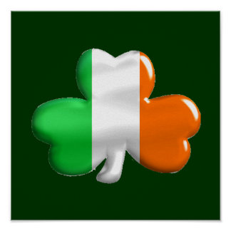 Irish Shamrock Clover Flag Poster