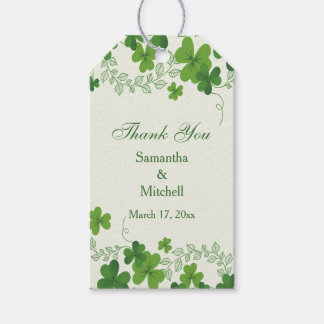 Irish shamrock (clover) Wedding Thank you Gift Tags